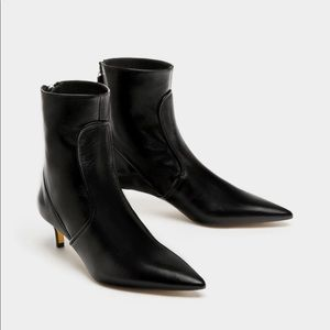 ZARA GENUINE LEATHER HIGH HEEL ANKLE BOOTS